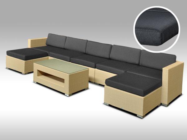 Luxusní rohová sedací souprava ALLEGRA 11 písková 5-7 osob, tmavě šedé polstry + DÁREK