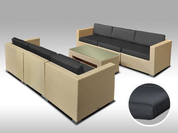 Umělý ratan - luxusní sedací souprava ALLEGRA 6 písková 6 osob, tmavě šedé polstry + DÁREK