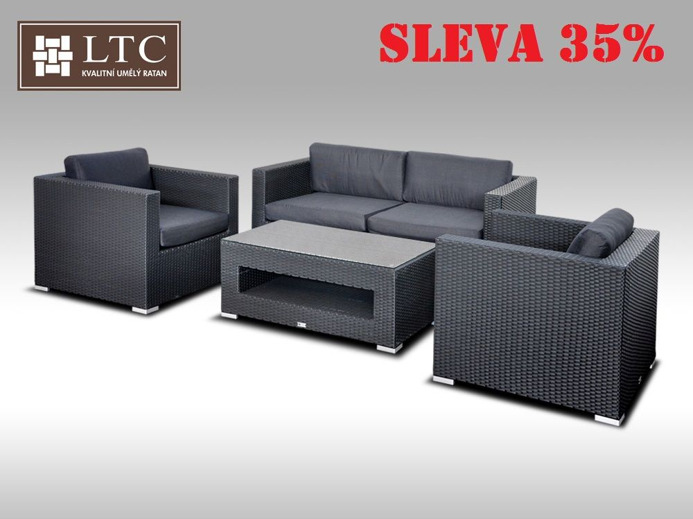 Umělý ratan - luxusní sedací souprava ALLEGRA II černá 4 osoby