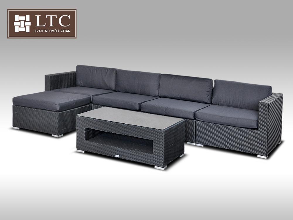 Luxusní rohová sedací souprava ALLEGRA IX černá 4-5 osob
