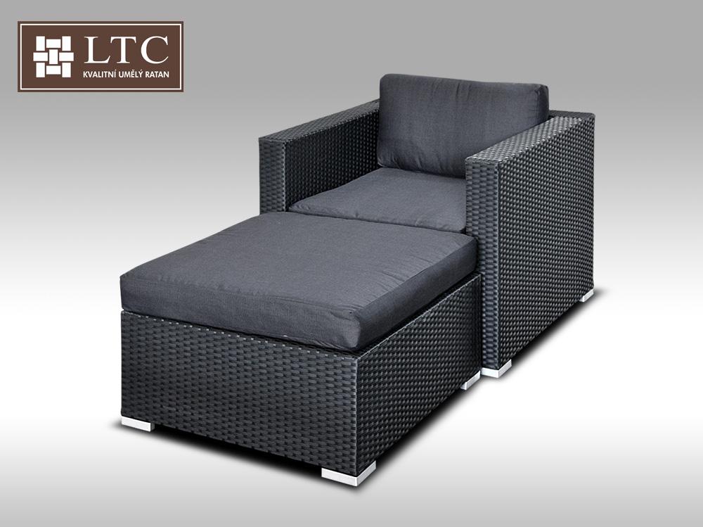 Umělý ratan - sedací souprava  ALLEGRA 1 černá 1-2 osoby