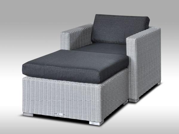 Umělý ratan - luxusní sedací souprava ALLEGRA 1 šedá 1-2 osoby, kulatý ratan