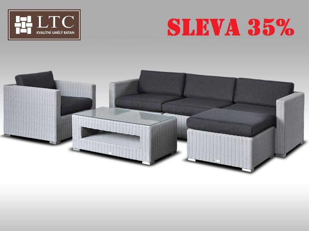 Luxusní rohová sedací souprava ALLEGRA VIII šedá 4-5 osob, kulatý ratan