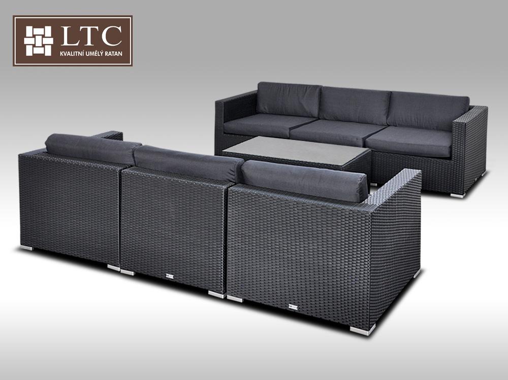 Umělý ratan - luxusní sedací souprava ALLEGRA VI černá 6 osob