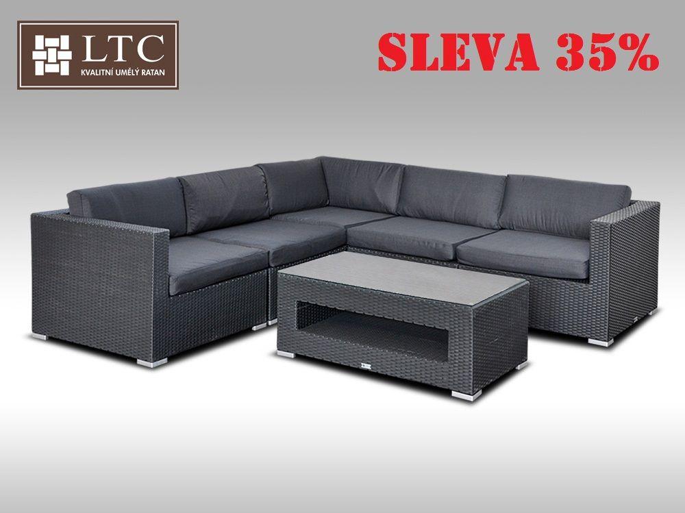 Luxusní rohová sedací souprava ALLEGRA XIII černá 4 osoby