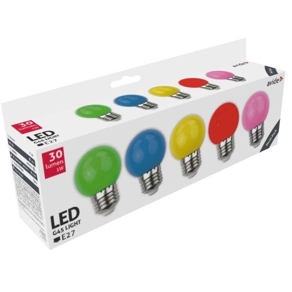 Sada barevných LED žárovek E27 1W 30lm - zelená, modrá, žlutá, červená, růžová