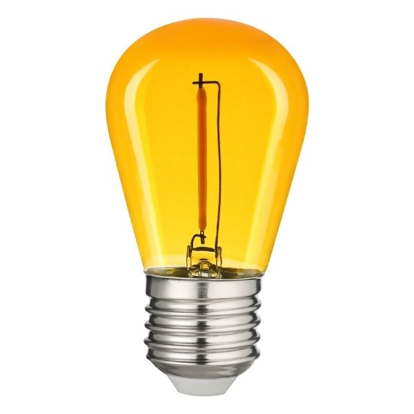 Retro barevná LED žárovka E27 0,6W 50lm žlutá, filament