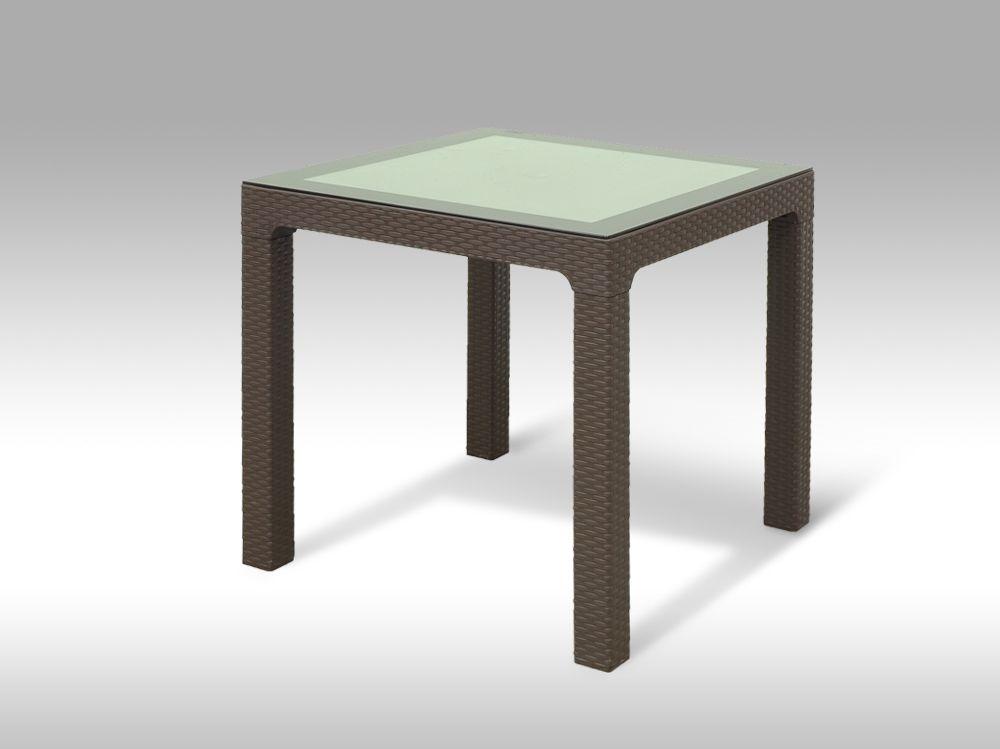 Plastový zahradní stůl 80x80cm se sklem Barcelona hnědý