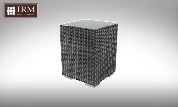 Kávový stolek z umělého ratanu Brillante šedý