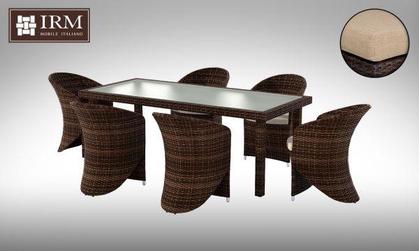 Umělý ratan - jídelní sestava Capra I, béžové polstry