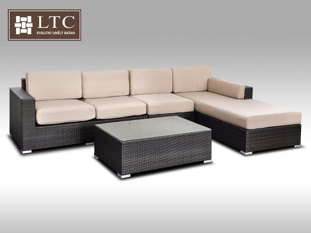 Luxusní sedací souprava z umělého ratanu Conchetta III 3,22x1,9m, světle hnědý polstr