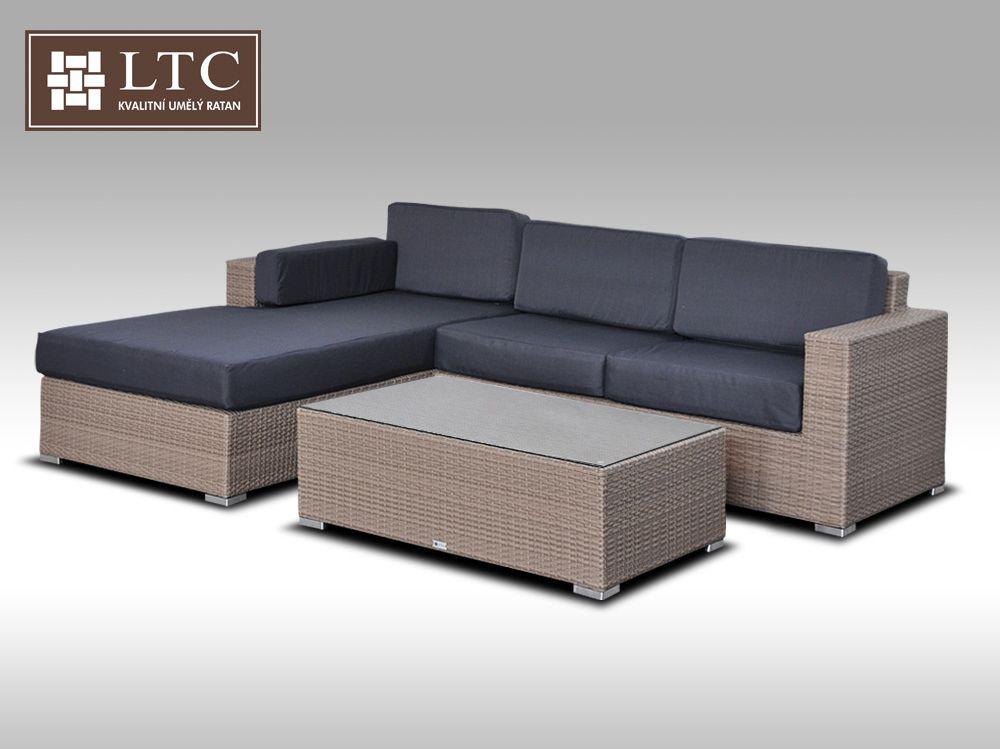 Luxusní sedací souprava z umělého ratanu Conchetta 2 šedobéžová 2,48x1,9m + DÁREK