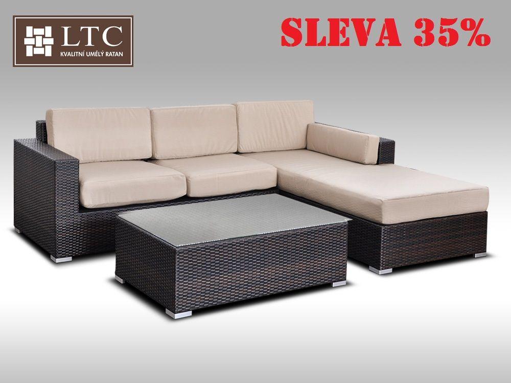 Luxusní sedací souprava z umělého ratanu Conchetta I 2,48x1,9m, světle hnědý polstr
