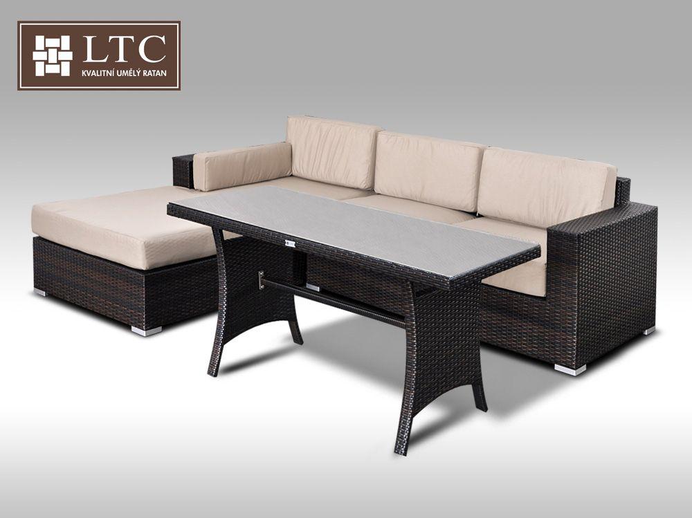 Luxusní sedací souprava z umělého ratanu Conchetta VII 2v1 2,48x1,9m, světle hnědý polstr