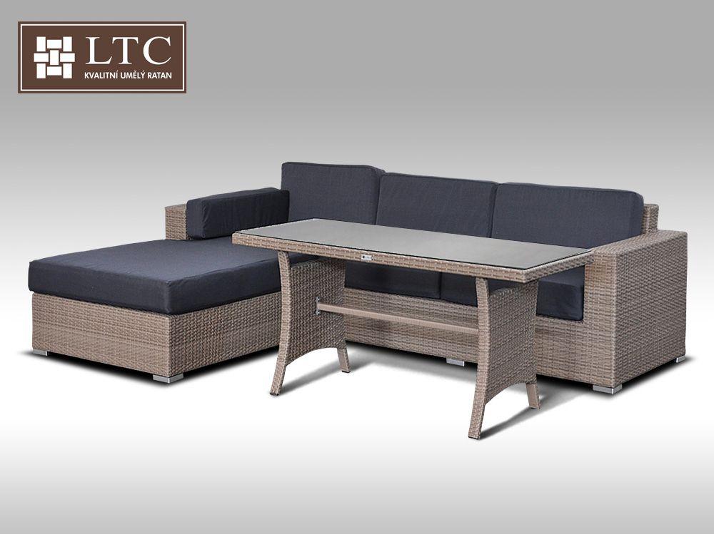 Luxusní sedací souprava z umělého ratanu Conchetta VII 2v1 šedobéžová 2,48x1,9m