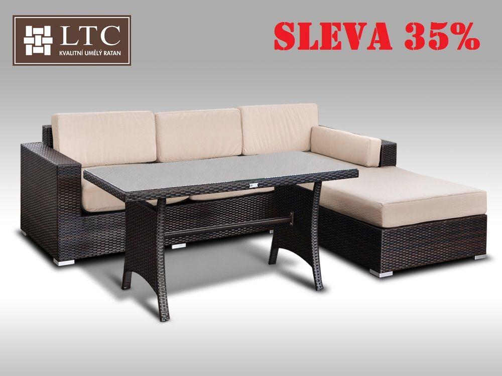 Luxusní sedací souprava z umělého ratanu Conchetta VI 2v1 2,48x1,9m, světle hnědý polstr