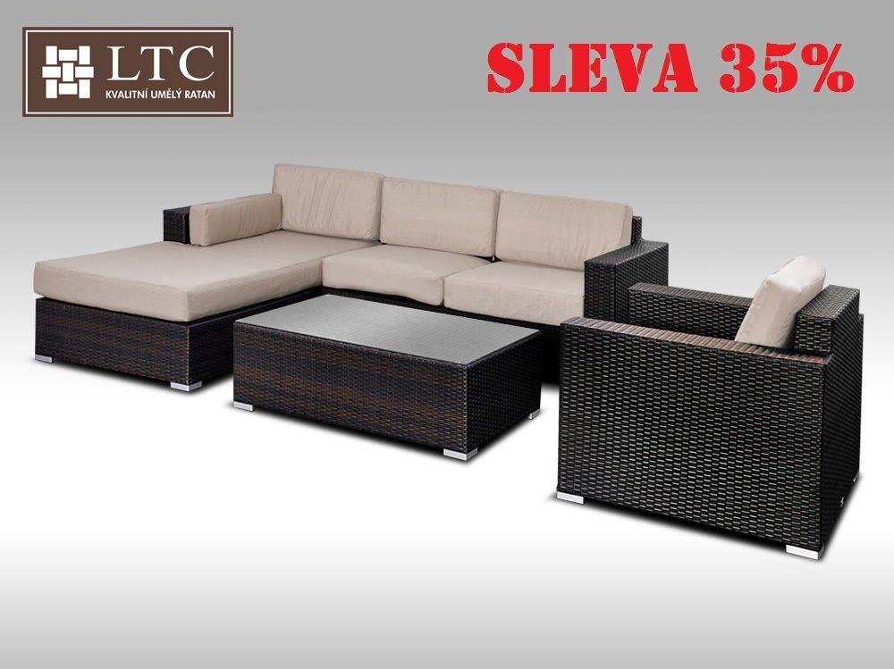Luxusní sedací souprava z umělého ratanu Conchetta XIII 2,48x1,9m, světle hnědý polstr