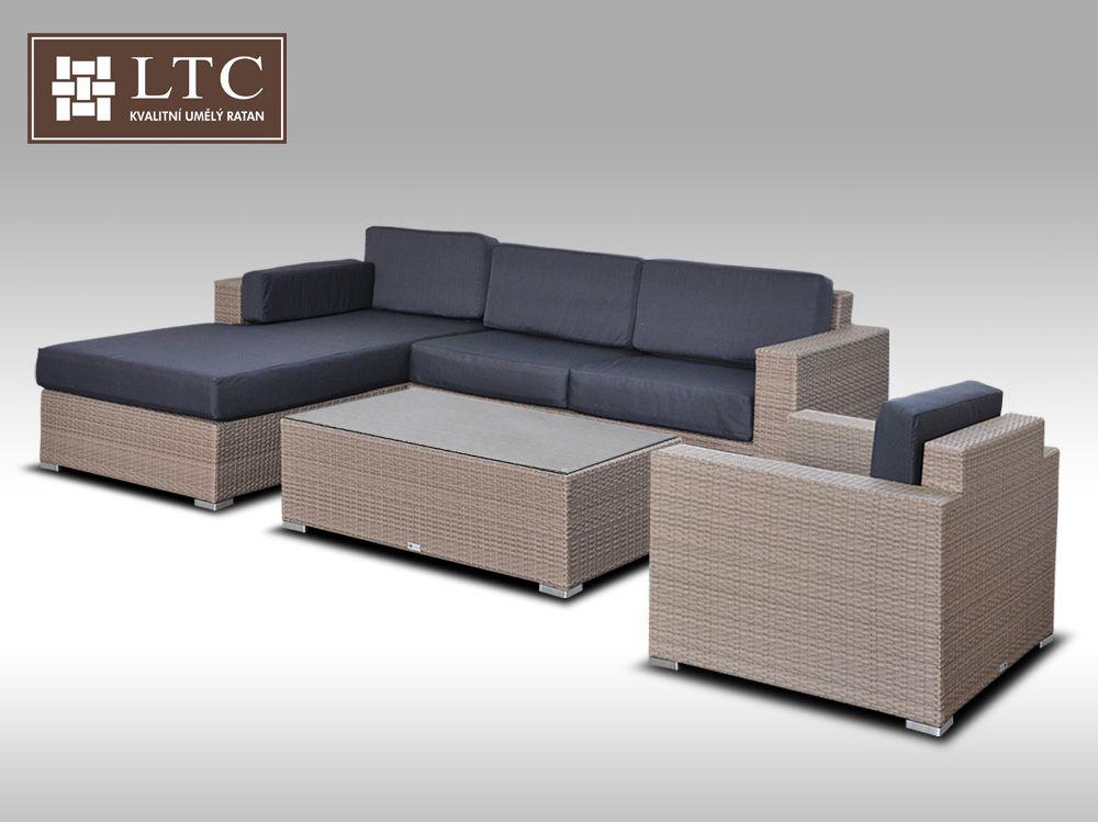 Luxusní sedací souprava z umělého ratanu Conchetta 13 šedobéžová 2,48x1,9m + DÁREK