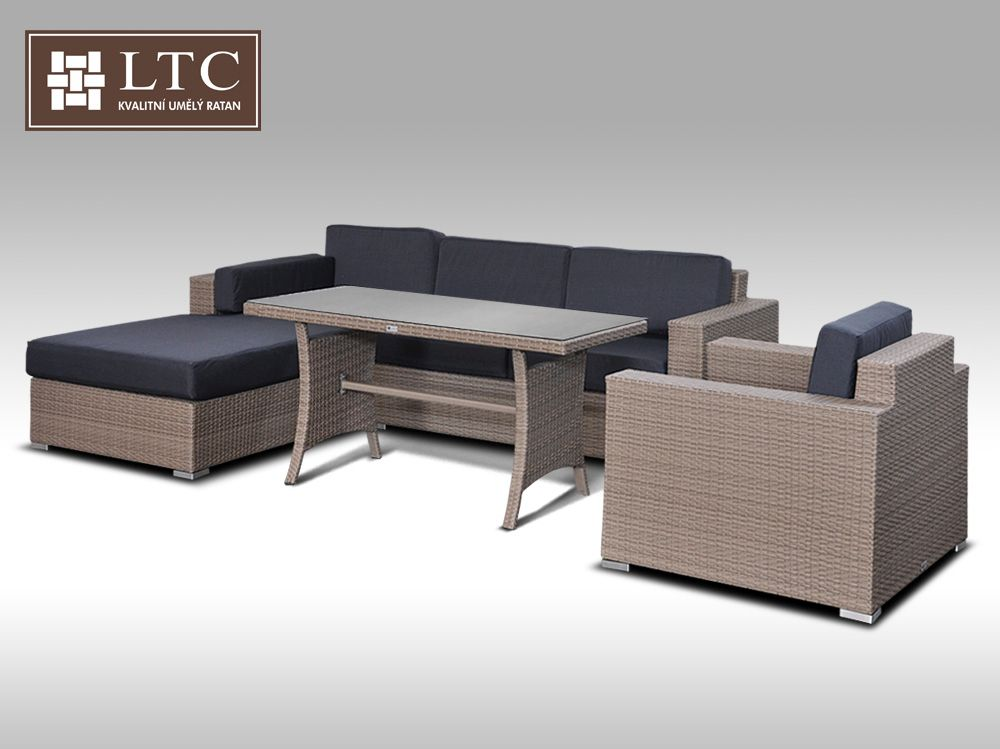Luxusní sedací souprava z umělého ratanu Conchetta 14 2v1 šedobéžová  2,48x1,9m + DÁREK