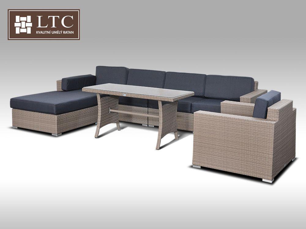 Luxusní sedací souprava z umělého ratanu Conchetta 18 2v1 šedobéžová 3,22x1,9m + DÁREK