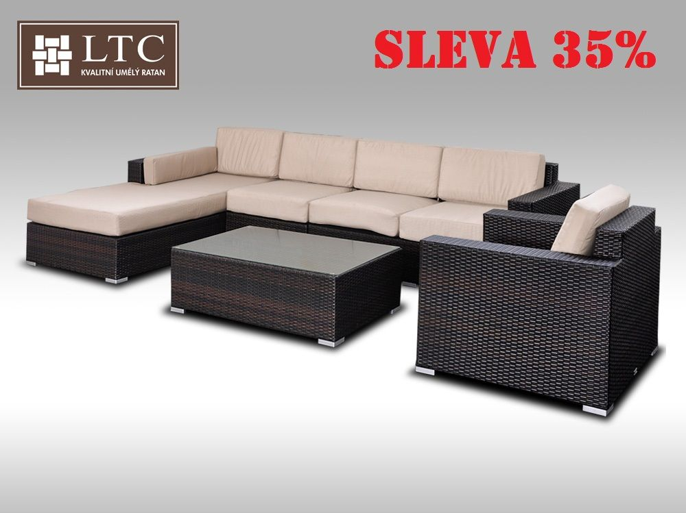Luxusní sedací souprava z umělého ratanu Conchetta XVII 3,22x1,9m, světle hnědý polstr