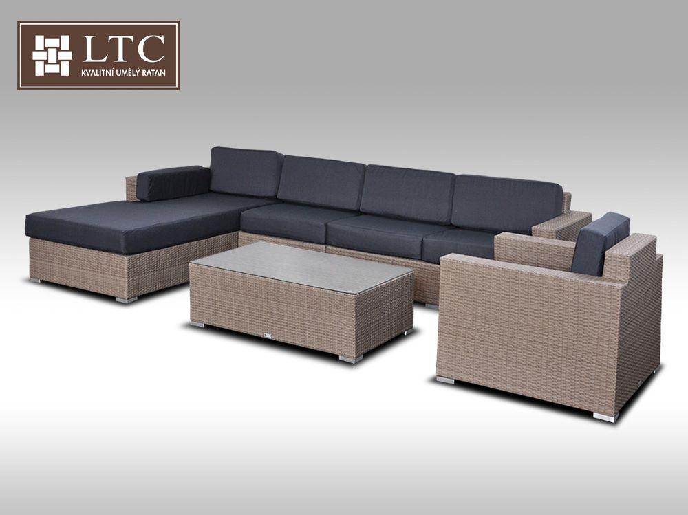 Luxusní sedací souprava z umělého ratanu Conchetta XVII šedobéžová 3,22x1,9m