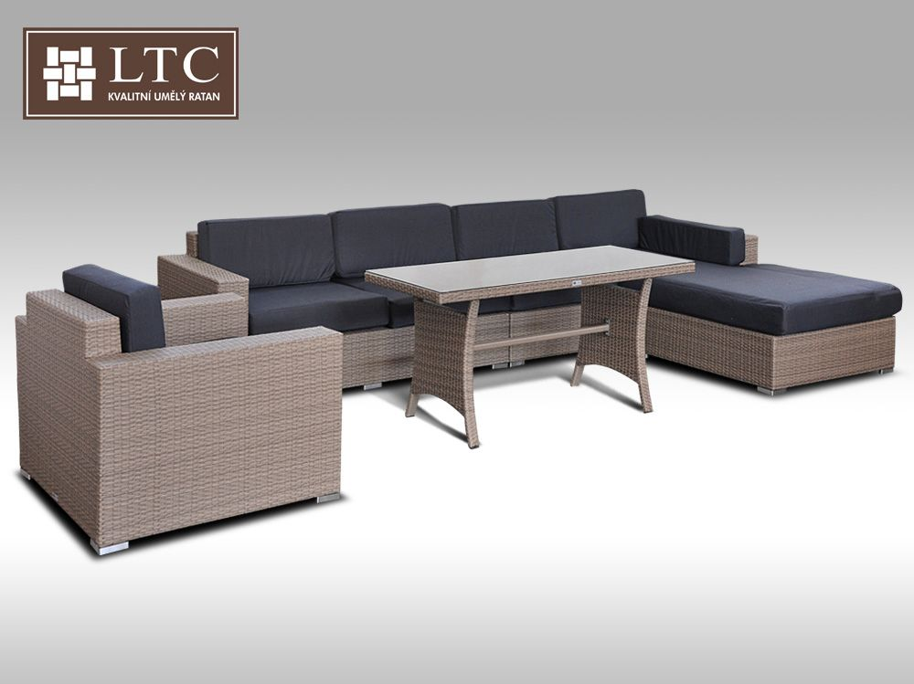 Luxusní sedací souprava z umělého ratanu Conchetta 16 2v1 šedobéžová 3,22x1,9m + DÁREK