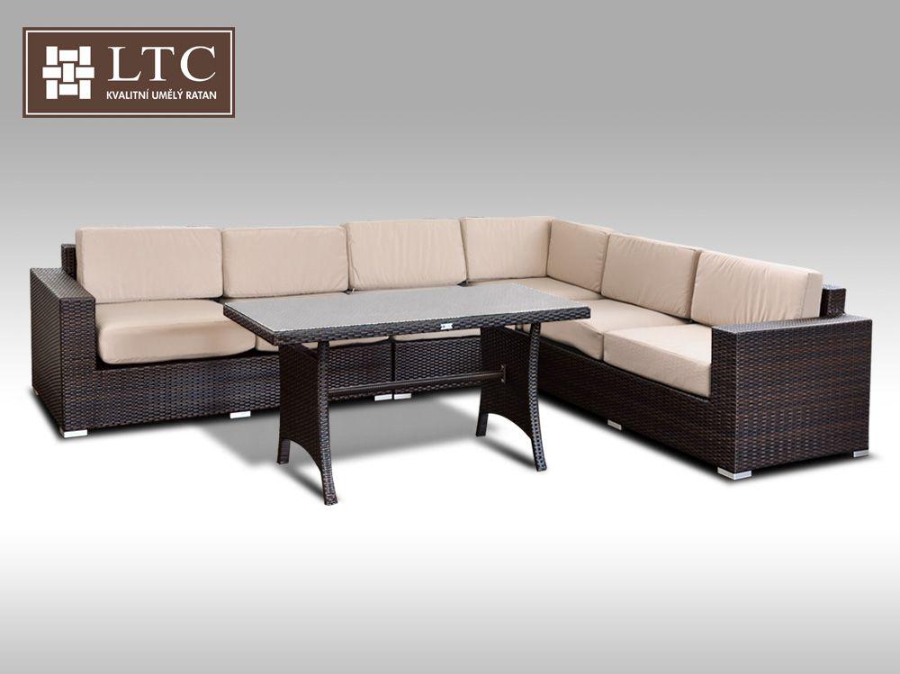 Luxusní sedací souprava z umělého ratanu Conchetta XXIII 2v1 3,16x2,42m, sv. hnědý polstr