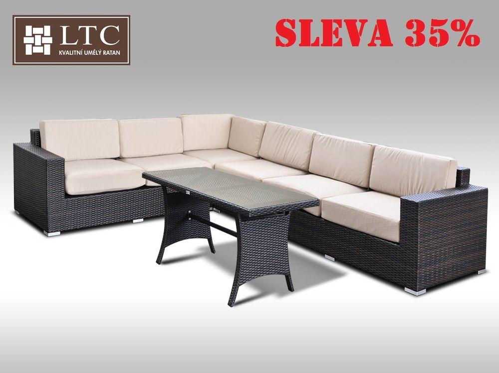 Luxusní sedací souprava z umělého ratanu Conchetta XXIV 2v1 2,42x3,16m, sv. hnědý polstr