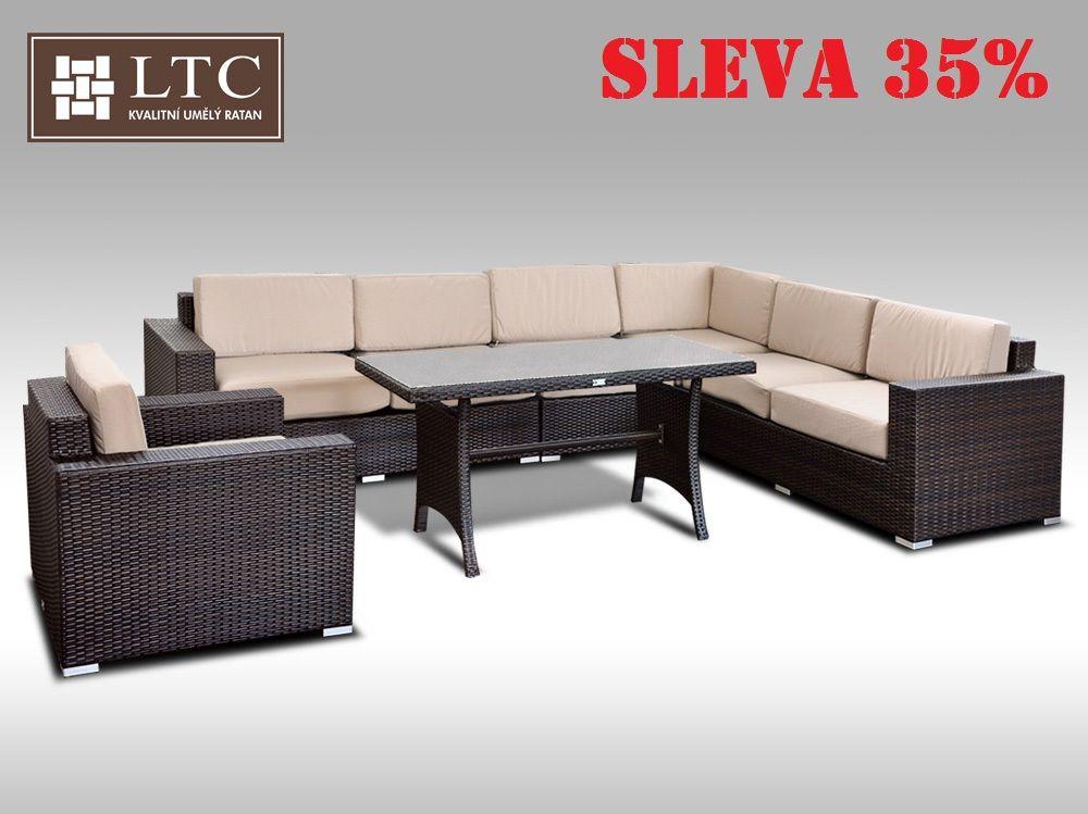 Luxusní sedací souprava z umělého ratanu Conchetta XXVII 2v1 3,16x2,42m, sv. hnědý polstr
