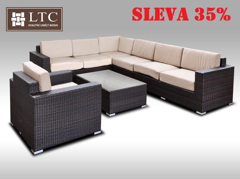 Luxusní sedací souprava z umělého ratanu Conchetta XXVI 2,42x3,16m, světle hnědý polstr