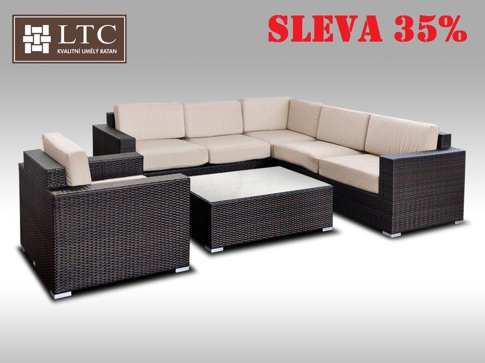 Luxusní sedací souprava z umělého ratanu Conchetta XX 2,42x2,42m, světle hnědý polstr