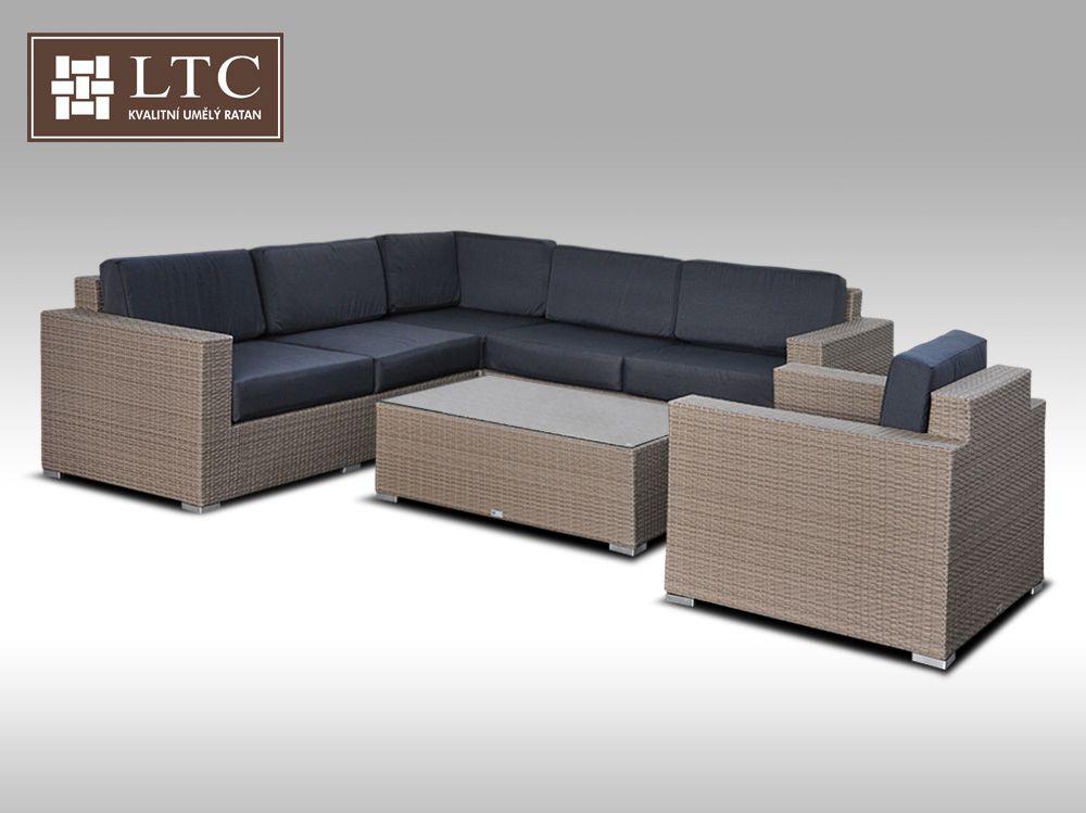 Luxusní sedací souprava z umělého ratanu Conchetta 20 šedobéžová 2,42x2,42m+ DÁREK