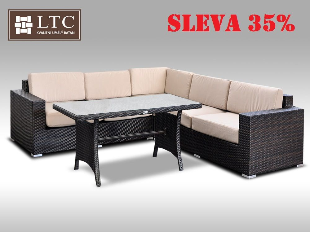 Luxusní sedací souprava z umělého ratanu Conchetta X 2v1 2,42x2,42m, světle hnědý polstr