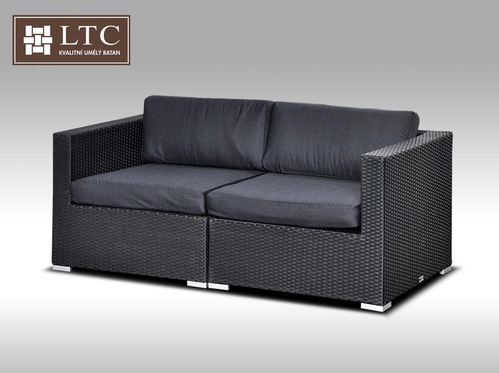 Umělý ratan - sofa ALLEGRA černá 2 osoby