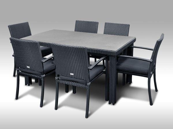 Umělý ratan - jídelní sestava Enrico 160 + 6 židlí Armino černá