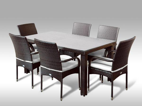 Umělý ratan - jídelní sestava Enrico 160 + 6 židlí Pietro hnědá