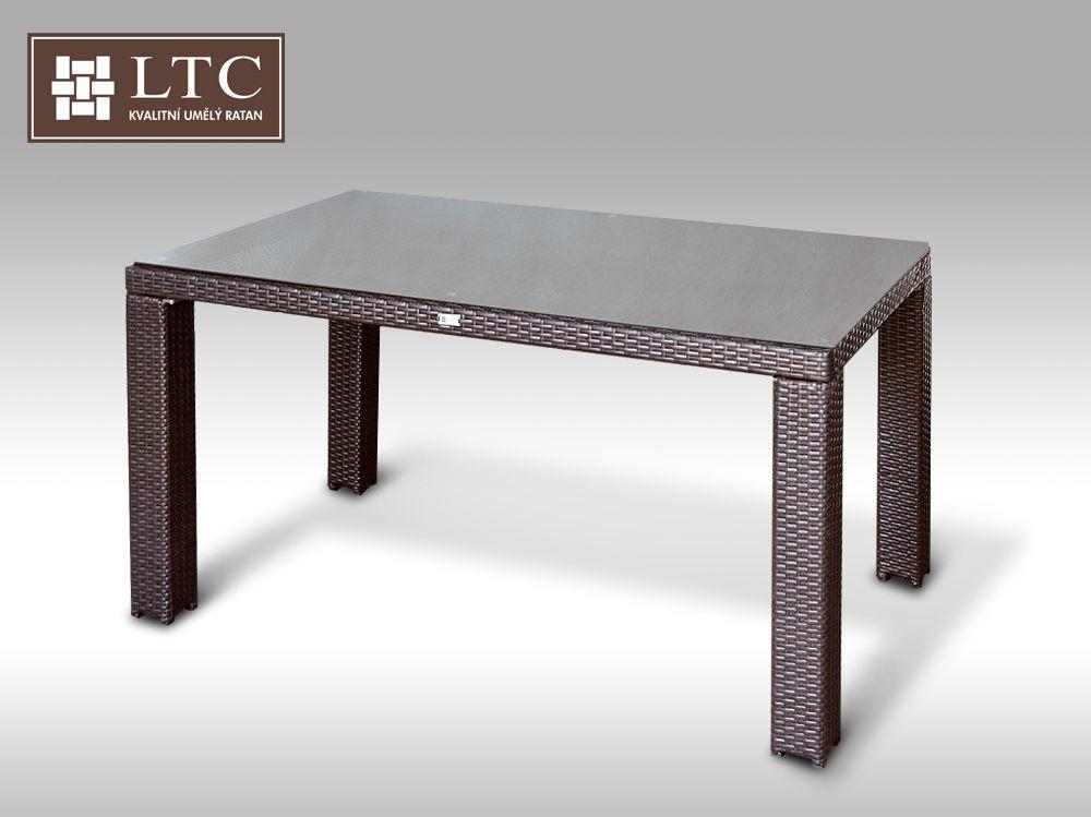 Umělý ratan - stůl Enrico 160x90  hnědý