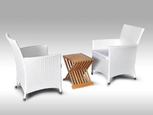 Balkonová sedací souprava Grazia II bílá, bílé polstry