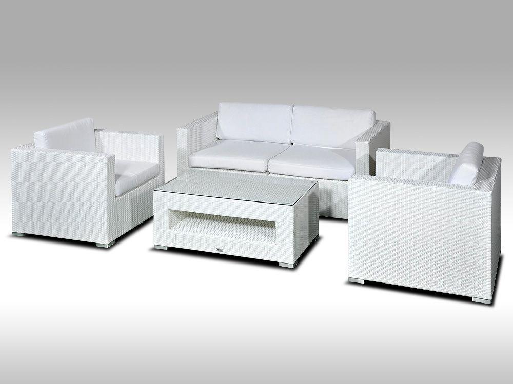 Umělý ratan - luxusní sedací souprava ALLEGRA 2 bílá 4 osoby