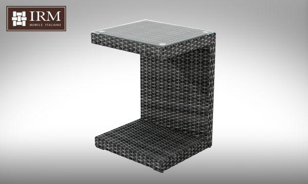 Odkládací stolek z umělého ratanu Onde šedý
