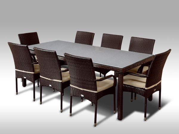 Umělý ratan - jídelní sestava Orlando 220 + 8 židlí Pietro hnědá, sv. hnědý polstr