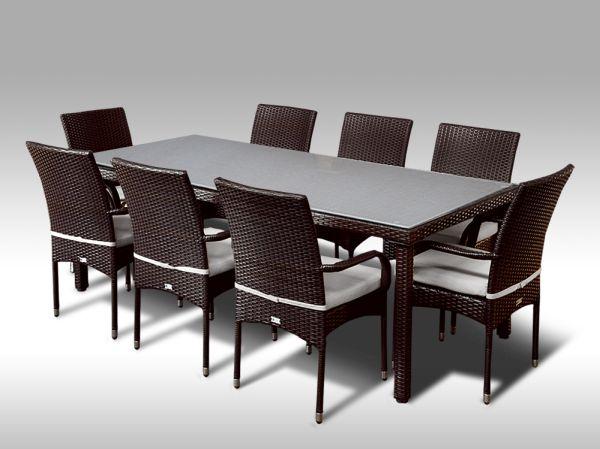 Umělý ratan - jídelní sestava Orlando 220 + 8 židlí Pietro hnědá