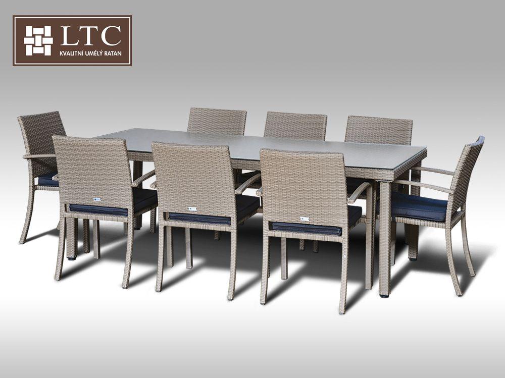 Umělý ratan - jídelní sestava Orlando 220 + 8 židlí Armino šedobéžová