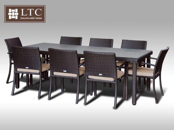 Umělý ratan - jídelní sestava Orlando 220 + 8 židlí Armino hnědá, světle hnědý polstr