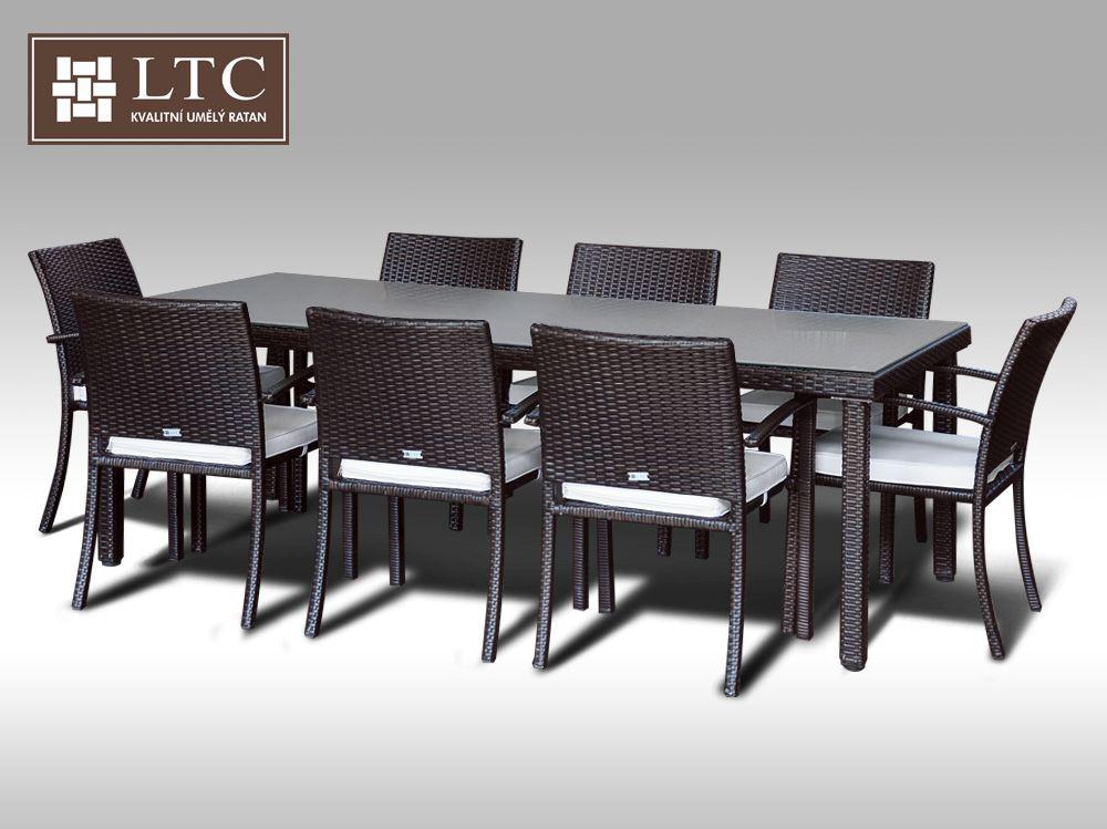 Umělý ratan - jídelní sestava Orlando 220 + 8 židlí Armino hnědá