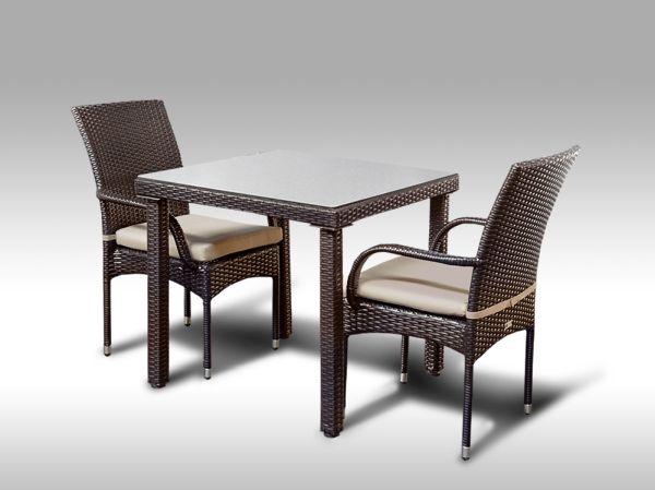 Umělý ratan - jídelní sestava Orlando 80 + 2 židle Pietro hnědá, světle hnědý polstr