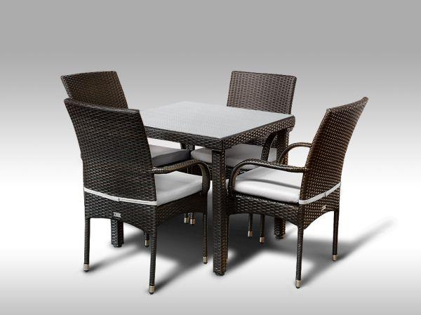 Umělý ratan - jídelní sestava Orlando 80 + 4 židle Pietro hnědá