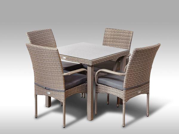Umělý ratan - jídelní sestava Orlando 80 + 4 židle Pietro šedobéžová