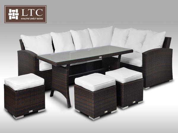Luxusní sedací a jídelní souprava PAOLA 2v1 hnědá 4-7 osob